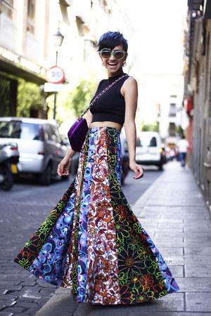 amethyst vintage bag - chartreuse vintage sunglasses - blue vintage skirt