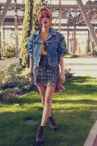 light orange Estela Balan skirt - navy denim vintage jacket