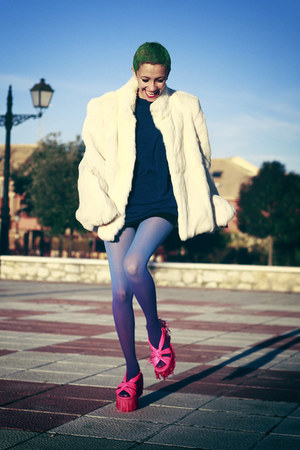 ivory Nifty thrifty coat - hot pink asos shoes - navy Now I Style dress