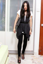 white Old Navy top - gray thrifted vest - black thrifted tights - black thrifted