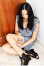 Blue-pull-bear-dress-black-ebayed-shoes
