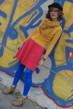black bowler hat - red dress - royal blue tights - mustard H&M cardigan