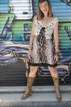 vest - boots - animal print dress
