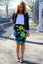 navy floral Forever 21 skirt - black leather H&M jacket