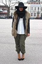 black leather H&M jacket - white H&M shirt - army green Zara pants