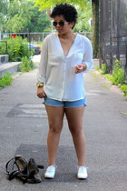 Topshop shoes - denim American Apparel shorts - H&M blouse