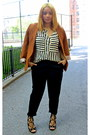 Tawny-forever-21-blazer-black-forever-21-pants-white-striped-vjstyle-blouse