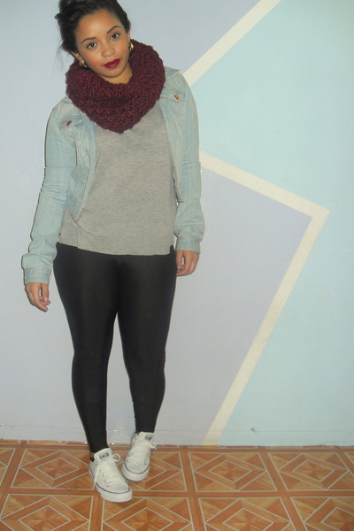 maroon knitted unknown scarf - light blue jean H&M jacket