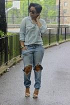 light blue denim American Eagle shirt - sky blue H&M Trend jeans