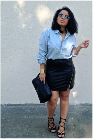 black faux leather Zara skirt - light blue H&M shirt - black shoemint sandals