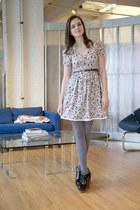 periwinkle floral modcloth dress - black woodies Jeffrey Campbell heels