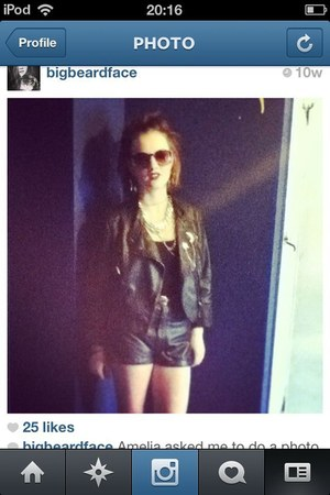 black leather Topshop jacket - black leather H&M shorts