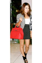 red Hermes - black - cotton on skirt - white cotton on top