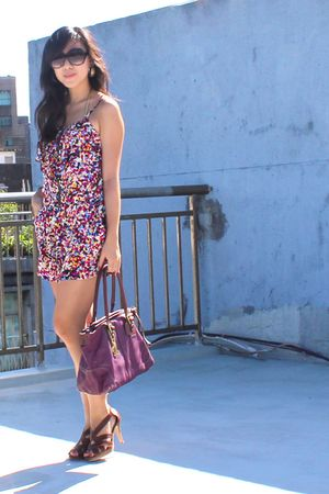 purple coach bag - brown shoes - purple romper - gold swimwear