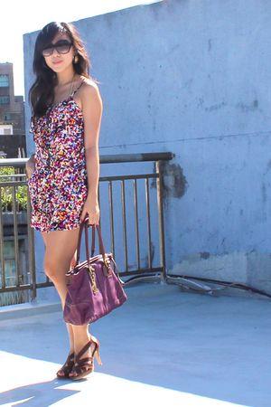 purple coach bag - brown shoes - purple romper - gold swimwear