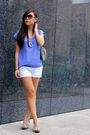 Blue-urban-outfitters-top-white-korean-name-noname-shorts-silver-shoes-sil