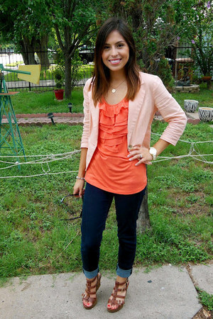salmon Target blouse - light pink Forever 21 blazer - brown Ross wedges
