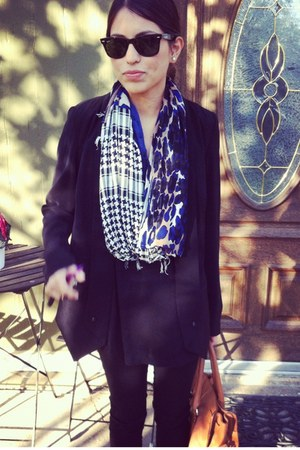 black mixed fabric scarf - black lightweight blazer