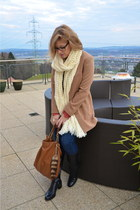 dark brown Tom Ford glasses - nude H&M blazer - bronze Michael Kors bag