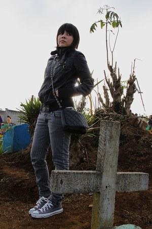 black Stradivarius jacket - charcoal gray pull&bear jeans