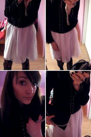 white summer Vero Moda dress - black chanel look Bershka jacket