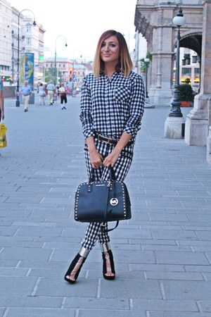 dark gray Mango blouse - dark gray Michael Kors bag - white Mango pants