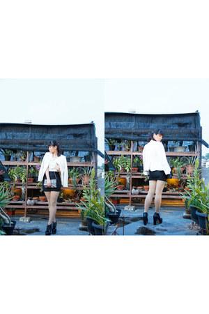 white wear as top unbranded dress - black junejulia boots - white Zara blazer