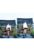 white wear as top unbranded dress - black junejulia boots - white Zara blazer