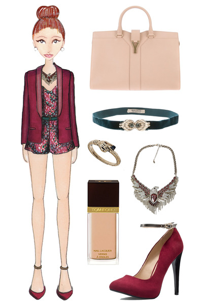 brick red Zara heels - brick red tuxedo Haider Ackermann blazer - nude YSL bag