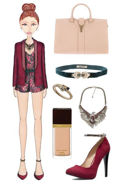 brick red Zara heels - brick red tuxedo Haider Ackermann blazer - nude YSL bag