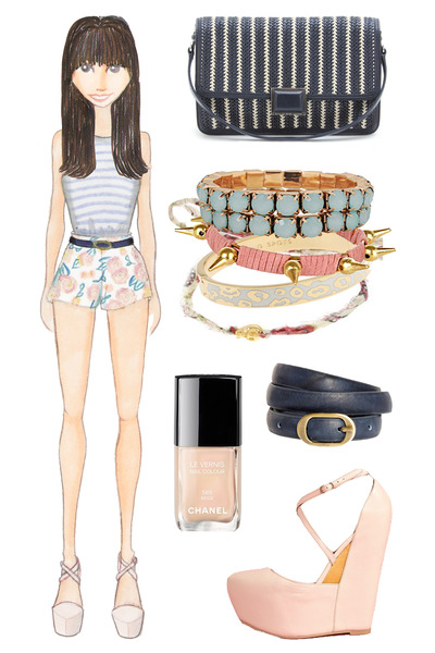 light pink floral Nasty Gal shorts - navy woven Marc by Marc Jacobs bag