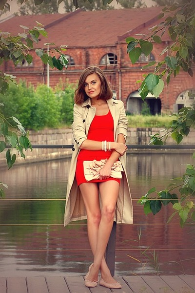 red H&M dress - beige Zara coat - light pink aston rimell bag - flats