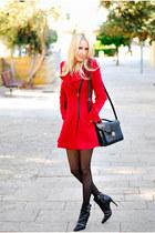 red asos coat - black Zara boots