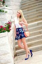navy Zara skirt - white H&M shirt - salmon H&M bag