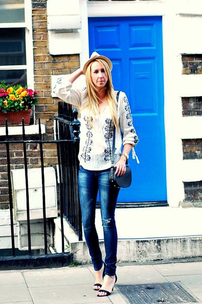 white Mango shirt - navy Zara jeans - off white Forever 21 hat