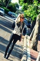 ivory leopard print Zara blouse - black H&M jeans - black River Island bag