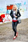 Gray-mango-jeans-silver-forever-21-sweater-brick-red-zara-pumps