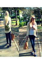eggshell pull&bear cardigan - navy Zara jeans - tawny Zara bag