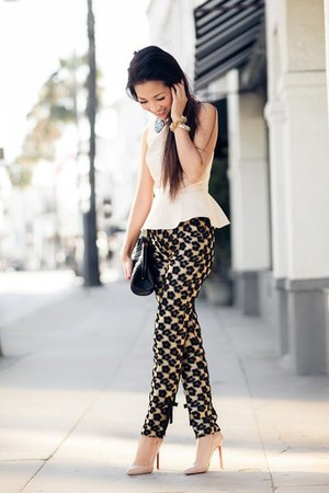 eggshell blouse - black clutch bag - black patterned pants