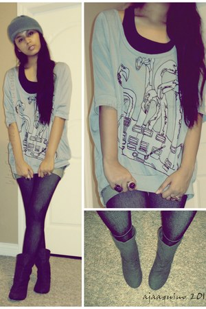 Spring boots - Never Been Kissed leggings - thrifted shirt - H&M ring