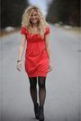 Red-kensie-dress-black-american-apparel-tights-black-aldo-shoes