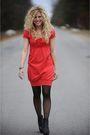 Red-kensie-dress-black-american-apparel-tights-black-aldo-shoes