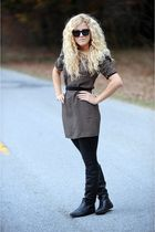 black H&M dress - rachel rachel roy leggings - black Steve Madden boots