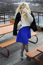 Jeffrey Campbell boots - liz claiborne coat - sweater - American Apparel skirt