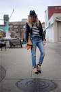 J-crew-jeans-j-crew-hat-leather-zara-jacket-asos-shirt-wink-and-winn-bag