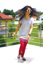 hot pink jeggings SM jeans - heather gray Esprit top - purple flats