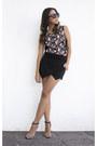 Black-h-m-shirt-black-zara-shorts-nude-zara-heels