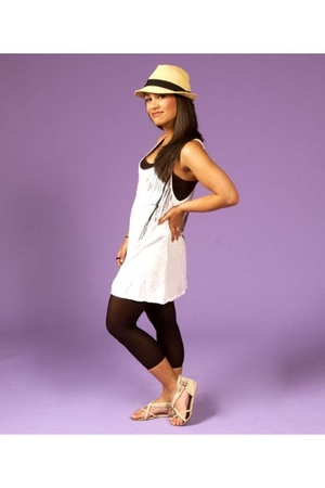 Forever21 dress - Charlotte Russe hat - Forever21 shoes - leggings