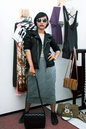 biker jacket unbranded jacket - unbranded boots - mothers closeth Chanel bag