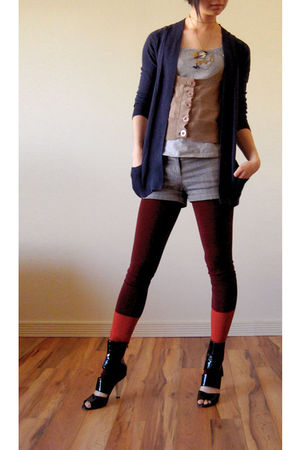 blue Kersh cardigan - Kersh vest - gray Jacob - Wolford tights - black - Costa B